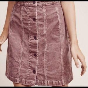 Anthropologie Pilcro Corduroy Button Front Skirt